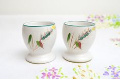1950s x 2 stoneware handpainted egg cups in by tillyandarthur