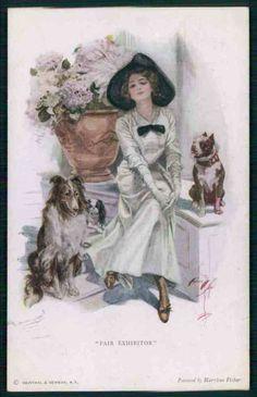 art Harrison Fisher Lady Collie Bulldog Chin dog Fair Exhibition c1910s postcard. Pinned by Judi Crowe.