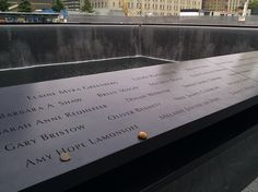 Amy Hope Lamonsoff with stones at the National September 11 Memorial. #911memorial #wtc #nyc