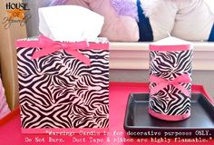 .. zebra print duct tape and pink ribbons !! Cuuuute !! bedroom accessories ? I think soooo !