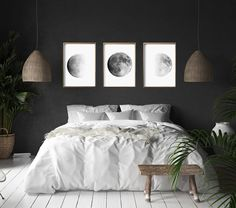 Moon Phase Prints Set of 3 Lunar Phases Black and White Wall art Minimalist Post. - Moon Phase Prints Set of 3 Lunar Phases Black and White Wall art Minimalist Posters Night Sky Conste - Grey Wall Art, Black And White Wall Art, Black White, Modern Wall Art, Bedroom Black, Modern Bedroom, Contemporary Bedroom, Contemporary Art, Bedroom Romantic