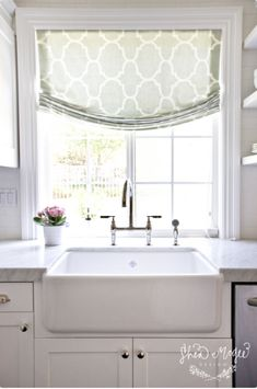 Bungalow Blue Interiors - Home - casual glam in san clemente Window treatment above sink.  (bedroom?)