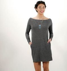 sea stripe tunic in black
