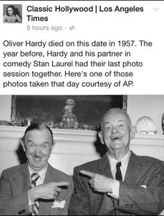 One of the last photos of Laurel and Hardy