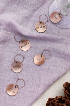 This set of six seasonal wine charms adds an element of sophistication to any holiday feast. Marked with a festive phrase, each copper tag is guaranteed to spread cheer. Custom Gift Boxes, Customized Gifts, Food Gift Baskets, Gourmet Food Gifts, Employee Gifts, Client Gifts, Business Gifts, Wine Charms, Wine Gifts