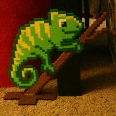 3D Chameleon perler bead art by hardassdoll