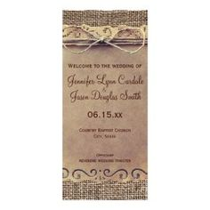 Rustic Country Vintage Burlap Wedding Program with template spots on the back for wedding party names.