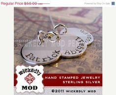 CIJ Sale 15 off Hand Stamped  Charm Jewelry by wickedlymodpendants, $42.50