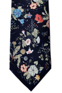 Gucci Necktie Black Floral Design