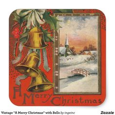 """Vintage """"A Merry Christmas"""" with Bells"""