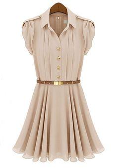 Nude Pink Falbala Single Breasted Lapel Chiffon Dress