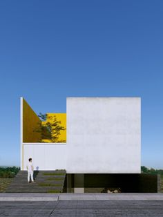 The result of an architectural design workshop for a single family home, this option by Zaira Anaid Carbajal Abud is one of my favorites. Sited in Mexico, its got all the classic elements to cope with a hot climate: light colored, no windows with direct Architecture Design, Innovative Architecture, Minimal Architecture, Facade Design, Amazing Architecture, Contemporary Architecture, Exterior Design, House Design, Landscape Architecture