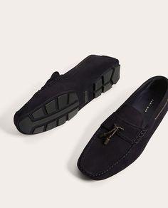 ZARA - HOMEM - MOCASSIM PELE AZUL-MARINHO Men S Shoes, Bleu Marine, Men's Collection, Loafers Men, Oxford Shoes, Dress Shoes, Menswear, Mens Fashion, Blue Nails