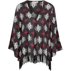 TOPSHOP **Tassel Trim Kimono by Glamorous (2.485 RUB) ❤ liked on Polyvore featuring intimates, robes, black, topshop kimono, kimono robe, black robe, topshop and black kimono robe