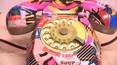 Decoupage: decorare un vecchio telefono.  Colori brillanti e decorazione pop per ridare vita a un vecchio oggetto.