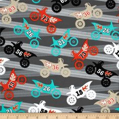 Michael Miller It's A Boy Thing Motorama Grey from @fabricdotcom  From Michael Miller, this cotton print is perfect for quilting, apparel and home decor accents.  Colors include white, black, shades of grey, orange, aqua and khaki.