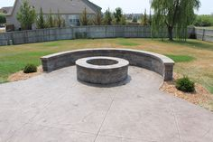 concrete patio with bench wall - simple, curved, bench.
