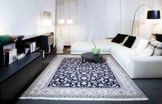 """A beautiful and fine knotted Nain Rug from the manufacture of """"Habibian"""" in combination with modern furnitures!"""