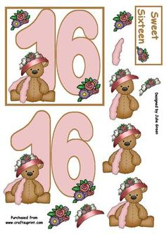 sweet sixteen on Craftsuprint designed by Julie Green - A lovely 3d topper for age 16,easy to cut out and there are lots of layers to add depth. - Now available for download!