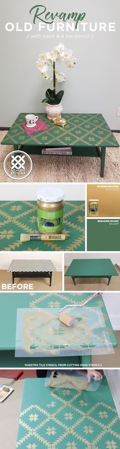 Cutting Edge Stencils shares how to makeover a coffee table using green and gold and paint along with the Maestro Tile Stencil from Cutting Edge Stencils. http://www.cuttingedgestencils.com/geometric-tile-stencil-painted-backsplash-stencils-cement-tile.html