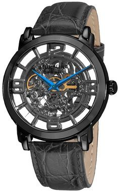 """Stuhrling Original Men's 165B.335569 """"Classic Winchester Grand"""" Stainless Steel and Leather Automatic Skeleton Watch $171"""