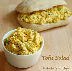 Roshni's Kitchen: Tofu Salad Sandwich - Egg Salad - Vegan Recipe way too much mustard. otherwise it would probably be quite nice Tofu Dishes, Vegan Side Dishes, Main Dishes, Tofu Salad, Egg Salad, Vegetarian Recipes, Cooking Recipes, Healthy Recipes, Vegetable Recipes