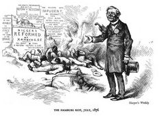 Cartoon decrying the Hamburg massacre of July 1876 America's real history of massacres and lynchings & white riots.