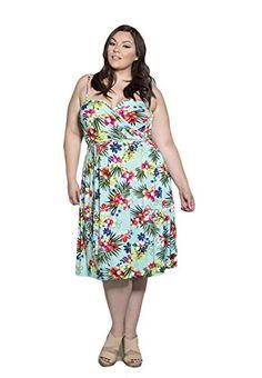 2c18b79815d Sealed with a Kiss Designs Plus Size Dress - Lani Wrap Dress 1X Blue Maui  at Amazon Women s Clothing store
