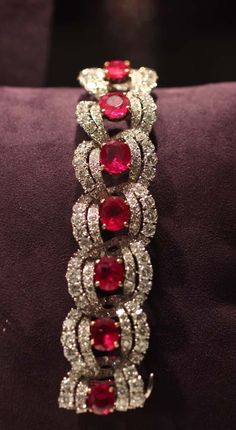 """""""Cartier Ruby and Diamond Bracelet - Elizabeth Taylor  The Cartier Ruby Suite was given to Elizabeth Taylor from Mike Todd in August of 1957."""" (quote) via pricescope.com"""