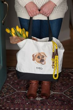 Custom Pet Tote Bag by Noble-Friends-Custom-Pet-Portraits-Illustrations  / Photography by Alice G Patterson