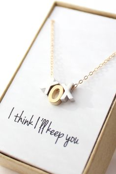 Gold and Silver XOX Necklace - Hugs and Kisses Necklace - Letter Necklace - Initial Necklace - XOXO Necklace - Love Necklace - Tiny Letter Letter Necklace, Love Necklace, Arrow Necklace, Jewelry Box, Jewelery, Jewelry Accessories, Jewelry Necklaces, Jewelry Packaging, Sky High