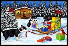 Christmas Mush Siberian Husky Indoor or Outdoor Mat 24x36 AMB1318JMAT
