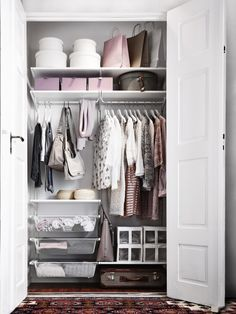 IKEA ALGOT wall upright/shelves/rod Can also be used in bathrooms and other damp areas indoors. Ikea Algot, Small Closet Organization, Closet Storage, Bedroom Storage, Closet Bedroom, Bedroom Inspo, Home Bedroom, Small Wardrobe, Pax Wardrobe