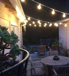 Easy to zig zag string lights between two buildings to create the perfect patio. These look like C9 stringers. Pick the strand color and bulb to fit your needs: http://www.partylights.com/Strings-Bulbs/C9-Strings-Bulbs