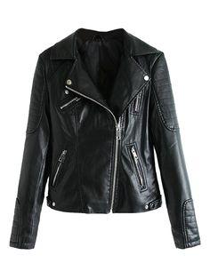 Black Lapel Leather Biker Jacket | Choies