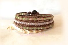 Pink and Green Triple Wrap Bracelet, Beaded Leather Wrap,  Beach Bracelet, Handmade, Artisan, Leather Jewelry, Free Shipping by SunsetSouthPaw on Etsy
