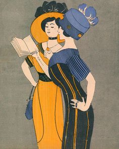 Print of girls reading together. Originally appeared on Le Frou Frou cover. People Reading, Book People, Reading Art, Woman Reading, Reading Room, Frou Frou, Inspirational Books, I Love Books, Illustrations