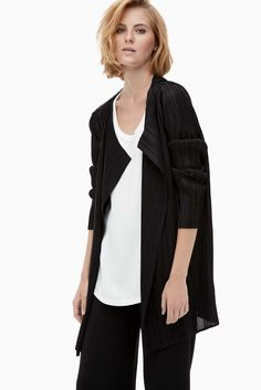 Long Plisséd Crepe Cardigan - city muse | Adolfo Dominguez shop online