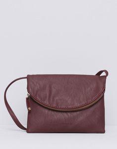 Pull&Bear - rounded foldover flap bag - maroon