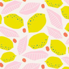print & pattern design pattern print simple graphic fruit summer pink and yellow Textiles, Textile Prints, Textile Patterns, Textile Design, Lino Prints, Block Prints, Pattern Floral, Fruit Pattern, Pattern Art