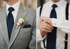 Grey Suit / Navy Blue Tie & Suspenders / Boutonniere with Wheat and Beer Bottle Cap / Beer Themed Wedding