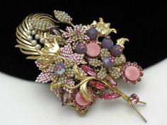 "stanley hagler vintage jewelry | STANLEY HAGLER Huge 4.5"" Hand Wrapped Seed Bead Pink Floral Brooch ..."