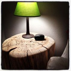 DIY tree stump nightstand.  ThriftyHabit.com  #DIY #treestump #nightstand