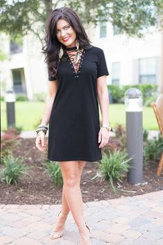 This Lace-up T-shirt dress is on sale for $10 right now!! Wow!