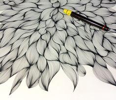 WIP, Ellen van de Sande; ink on paper, Rotring Rapidograph 0.35mm pen  . . .  ღTrish W ~ http://www.pinterest.com/trishw/  . . .   #doodle #pattern
