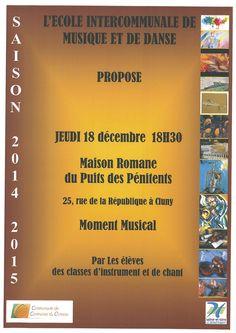 Moment musical de fin d'année des classes d'instrument de l'école de musique du Clunisois le jeudi 18 décembre à 18h30.