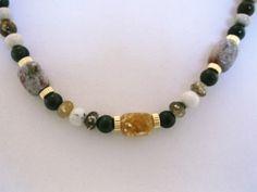Genuine Ocean Jasper, Jade & Gold 24 inch Necklace for Sale at PSP Unique Jewelry @etsy.com Gemstone Jewelry, Unique Jewelry, Beautiful One, Psp, Jasper, Beaded Bracelets, Ocean, Gemstones, Gold