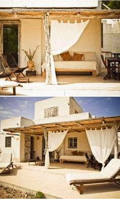 I love the curtains that can be pulled back or let down depending on the time of day on this patio. VILLAS a louer FORMENTERA Outdoor Spaces, Outdoor Living, Outdoor Decor, Outdoor Curtains, Large Curtains, Exterior Design, Interior And Exterior, Beach Cottages, My Dream Home
