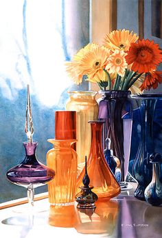 """""""Jewels of the Czar"""" Art Glass Watercolor by Paul Jackson. Cant believe this is watercolor! Watercolor Flowers, Watercolor Paintings, Watercolours, Paul Jackson, Still Life Art, Diy Painting, Flower Art, Vases, Glass Art"""