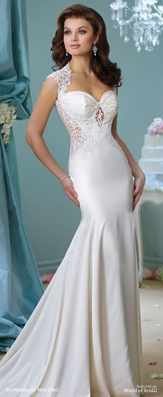 Soft satin and Venise lace trumpet gown with illusion lace cap sleeves, Queen Anne neckline, center gathered sweetheart bodice with hand-beaded illusion and lace cutout, matching insets on sides of bodice, illusion and lace back with crystal buttons, chapel length train.